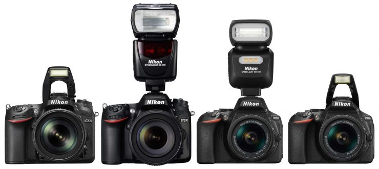 The Nikon D7200 and D5600 with pop up flashes and hot shoe mounted flashes