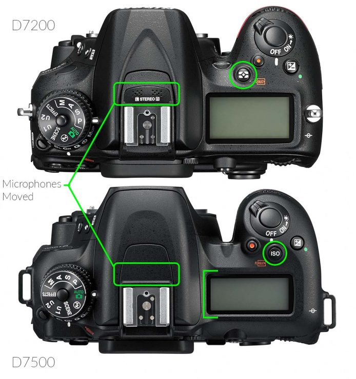Top view of Nikon D7200 and D7500 pointing out differences