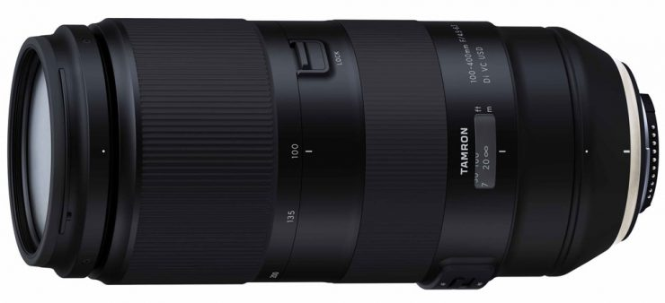 The Tamron 100-400mm f4.5-6.3 Di VC USD without tripod collar or hood.