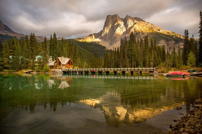 Emerald Lake lodge reflected with mt burgess