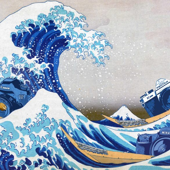 Cameras in illustration of Hokusai's Wave off Kanagawa Print