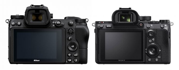 Nikon Z7 and Sony A7RIII back view