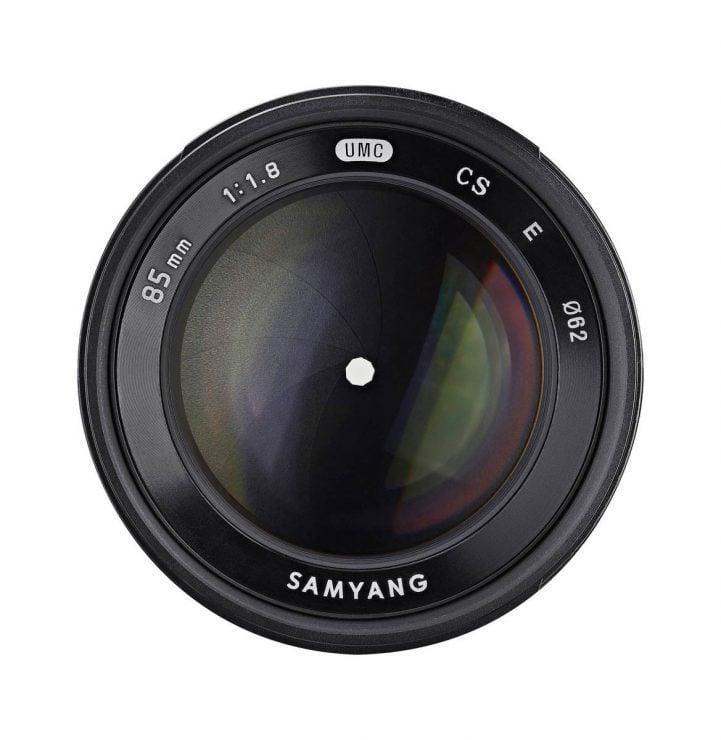 rokinon 85mm f/1.8 lens for APS-C, front element