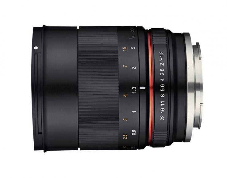 rokinon 85mm f/1.8 lens for APS-C, side view without hood
