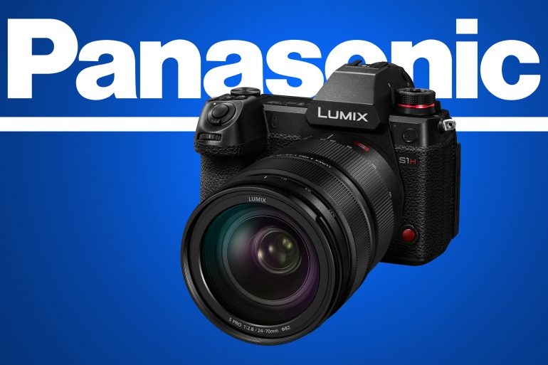 Panasonic S1H product image on blue background