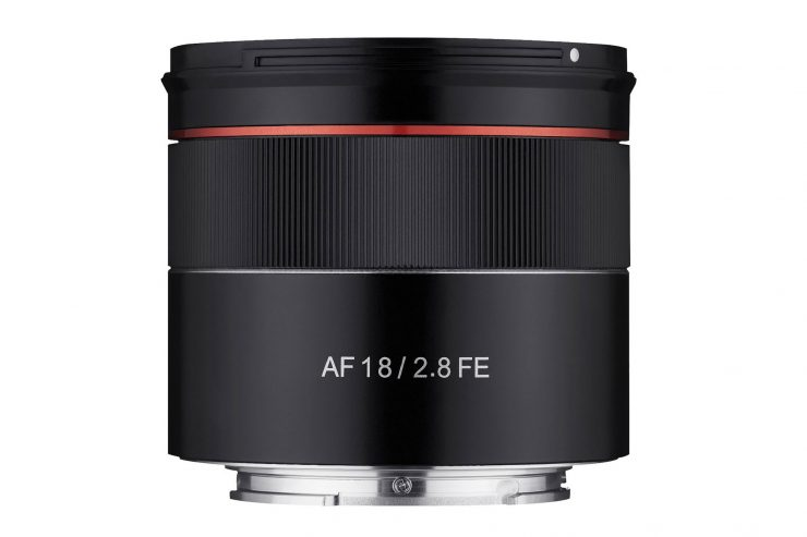 Samyang 18mm f/2.8 FE product photo straight side view