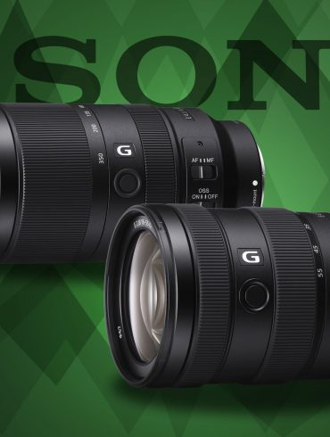 sony 16-55 f2.8 product images with green background