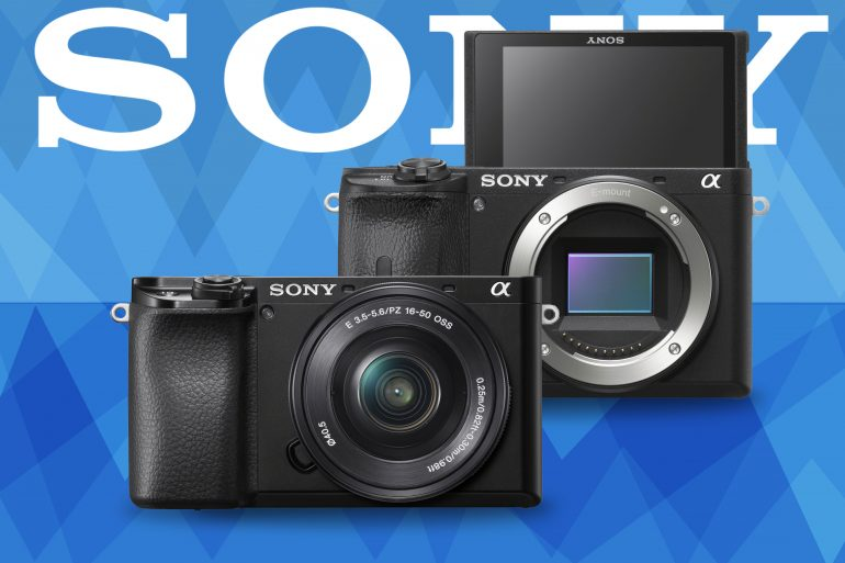 Sony a6600 and a6100 product photos on blue background