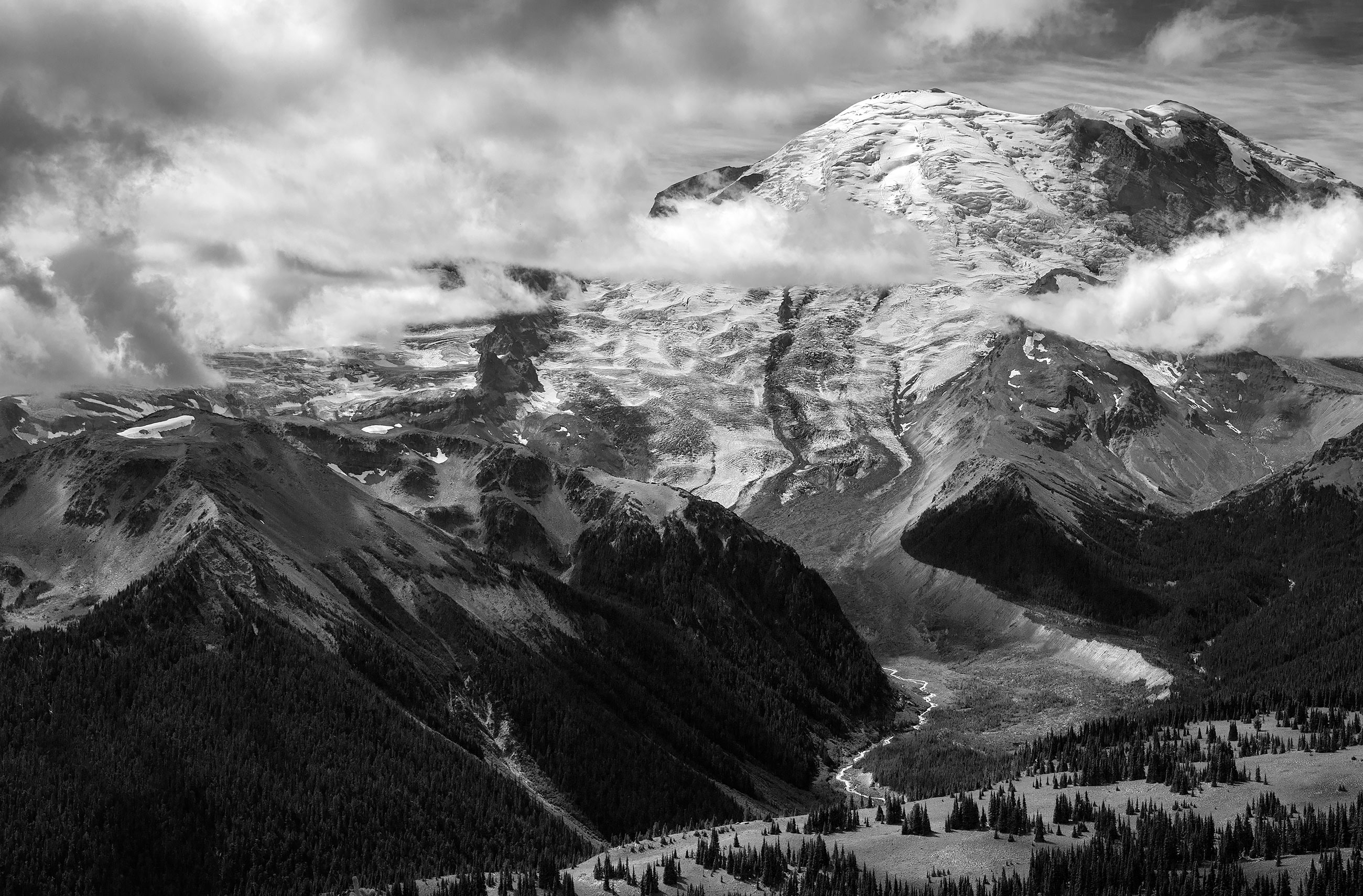 Black and white photo of Mt. Rainier on a cloudy day
