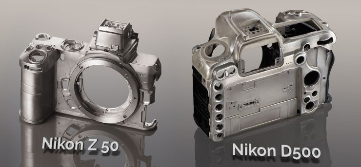Comarison of the magnesium inner frames of the Nikon Z50 and Nikon D7500 cameras