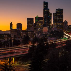 Seattle Skyline at Sunset Long Exposure