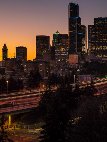 Seattle Skyline at Sunset Long Exposure