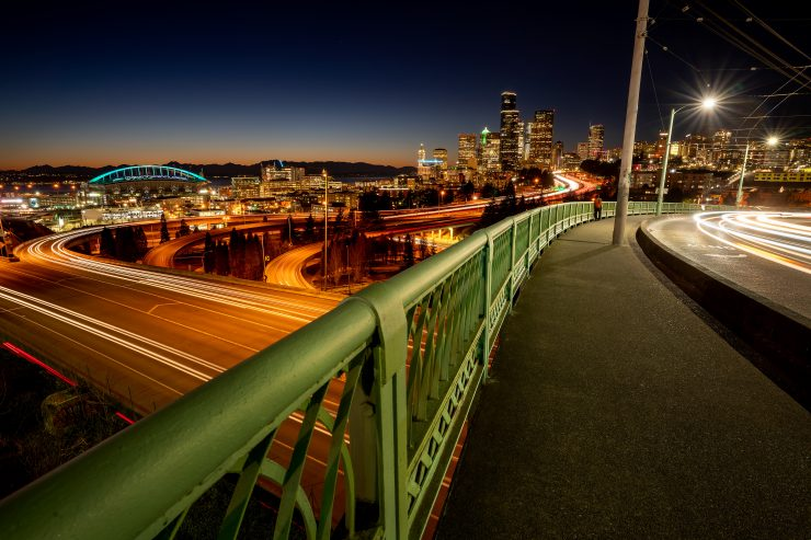 Seattle Skyline and bridge from South Seattle, shot with Moment VND filter