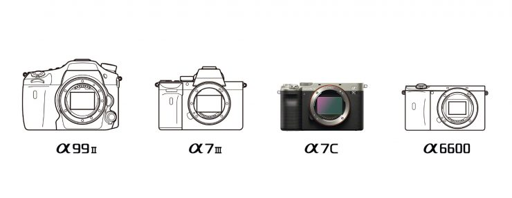 Sony camera body line art comparison