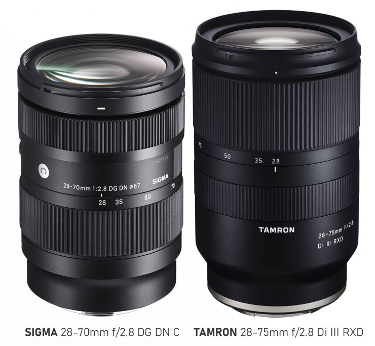 Sigma 28-70mm f/2.8 Lens next to the Tamron 28-75mm f/2.8 lens, which is slightly longer